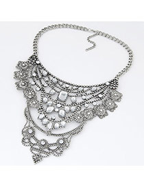 Swanky Silver Color Diamond Decorated Hollow Out Design