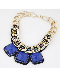 Occident Sapphire Blue Square Gemstone Decorated Short Chain Design Alloy Bib Necklaces