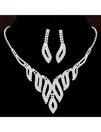 Shiny Silver Color Diamond Decorated Leaf Shape Design  Alloy Jewelry Sets