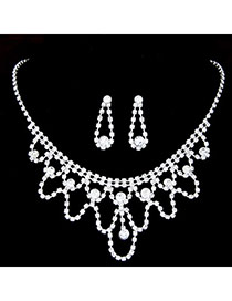 Shiny Silver Color Diamond Decorated Hollow Out Design  Alloy Jewelry Sets