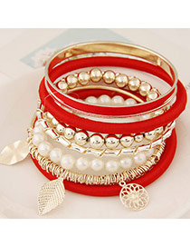 Fashion Red Multielement Pendant Decorated Multilayer Design Alloy Korean Fashion Bracelet