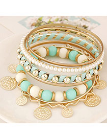 Trendy Green Multielement Decorated Multilayer Design Alloy Fashion Bangles