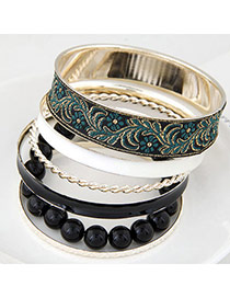 Trendy Black Flower Pattern Decorated Multilayer Design  Alloy Fashion Bangles
