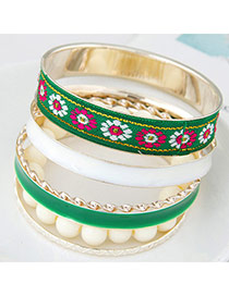 Trendy Green Flower Pattern Decorated Multilayer Design  Alloy Fashion Bangles