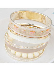 Trendy Apricot Flower Pattern Decorated Multilayer Design  Alloy Fashion Bangles