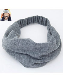 Casual Gray Pure Color Wide Simple Design  Fabric Hair band hair hoop