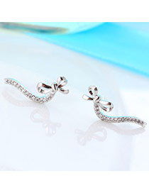 Exquisite Silver Color Diamond Decorated Bowknot Shape Design(anti-allergy)  Cuprum Stud Earrings