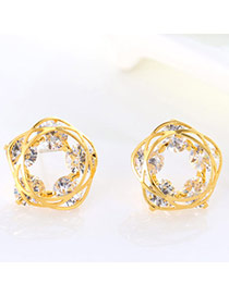 Exquisite Gold Color Diamond Decorated Hollow Out Round Shape Design(anti-allergy)  Cuprum Stud Earrings