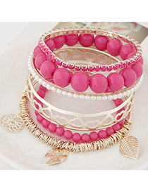 Exquisite Plum Red Beads Decorated Multilayer Design Alloy Fashion Bangles
