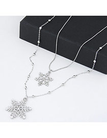 Fashion Silver Color Snow Shape Pendant Decorated Double Layer Design