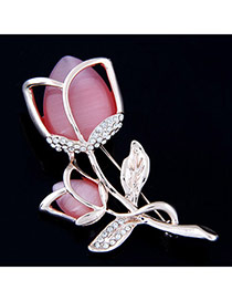 Exquisite Light Watermelon Red Diamond Decorated Hollow Out Flower Design  Alloy Korean Brooches