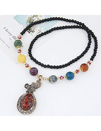 Fashion Multicolor Beads Decorated Calabash Pendant Design Alloy Bib Necklaces