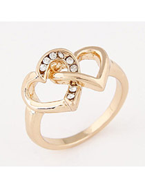 Personalized Gold Color Diamond Decorated Heart To Heart Shape Design  Alloy Korean Rings