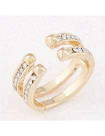 Personalized Gold Color Diamond Decorated Opening Design  Alloy Korean Rings