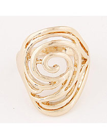Personalized Gold Color Rose Pattern Decorated Hollow Out Design  Alloy Korean Rings