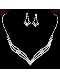 Bling White Diamond Decorated Hollow Out Design  Alloy Jewelry Sets