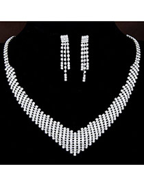 Bling White Diamond Decorated V Shape Design  Alloy Jewelry Sets