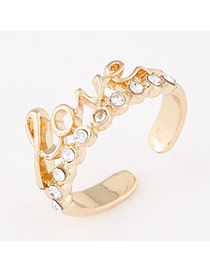 Trendy Gold Color Letter Love Decorated Simple Design  Alloy Korean Rings
