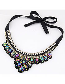Classy Multicolor Gemstone Decorated Fake Collar Design