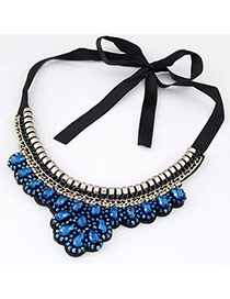 Classy Blue Gemstone Decorated Fake Collar Design