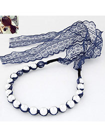 Elegant Navy Blue Pearl Decorated Simple Design  Lace Hair band hair hoop