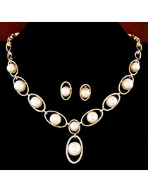 Trendy Gold Color Pearl Decorated Oval Shape Design  Alloy Jewelry Sets