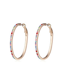 Luxury Multicolor Diamond Decorated Circle Design  Alloy Crystal Earrings
