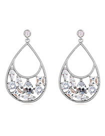 Luxury White Diamond Decorated Water Drop Shape Design  Cuprum Crystal Earrings