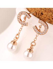 Sweet Rose Gold Pearl Decorated U Shape Design(anti-allergy)  Cuprum Stud Earrings
