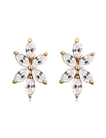 Luxurious Champagne Diamond Decorated Flower Shape Design  Cuprum Crystal Earrings