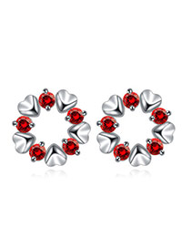 Luxurious Red Diamond Decorated Heart Shape Design  Cuprum Crystal Earrings