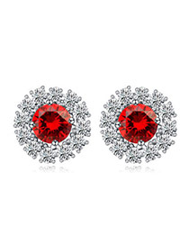 Luxurious Red Diamond Decorated Round Shape Design  Cuprum Crystal Earrings
