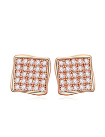 Classy Rose Gold Diamond Decorated Square Shape Design  Cuprum Crystal Earrings
