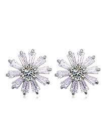 Sweet White Diamond Decorated Flower Shape Design  Cuprum Crystal Earrings