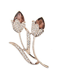 Charming Coffee Diamond Decorated Lotus Shape Design  Alloy Korean Brooches