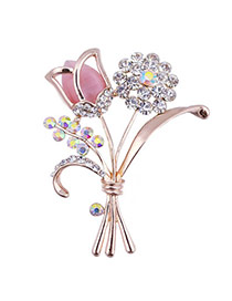Charming Pink Diamond Decorated Tulip Shape Design  Alloy Korean Brooches