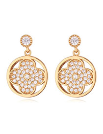 Exquisite Champagne Flower Shape Decorated Simple Design Zircon Crystal Earrings