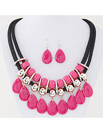 Sweet Plum Red Waterdrop Beads Decorated Double Layer Design  Alloy Jewelry Sets