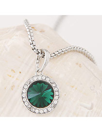 Swanky Green&silver Color Diamond Decorated Round Pendant Design Alloy Chains