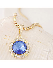 Swanky Blue&gold Color Diamond Decorated Round Pendant Design Alloy Pendants