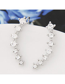 Fashion Silver Color Diamond Decorated Simple Design Alloy Stud Earrings