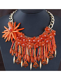 Pretty Orange Flower Shape Decorated Tassel Design Alloy Bib Necklaces
