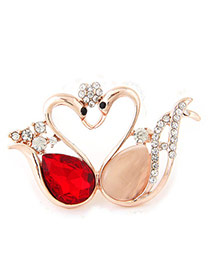 Sweet Red Diamond Decorated Swans Shape Design  Alloy Korean Brooches