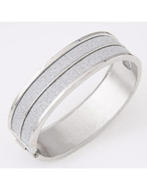 Personality Silver Color Round Shape Simple Design  Alloy Fashion Bangles