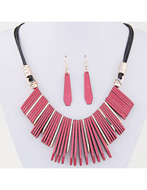 Temperament Watermelon Red Vertical Bar Pendant Decorated Simple Design  Alloy Jewelry Sets
