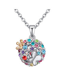 Elegant Multicolor Butterfly Decorated Ball Pendant Design  Alloy Crystal Necklaces