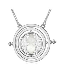 Elegant White Hourglass Round Pendant Decorated Simple Design  Alloy Crystal Necklaces