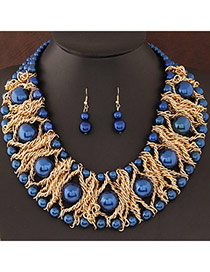 Fashion Blue Pearl Decorated Weave Design  Alloy Jewelry Sets