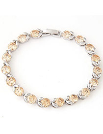 Fashion Champagne Diamond Decorated Simple Design  Cuprum Fashion Bracelets