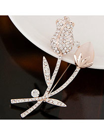 Sweet Apricot Diamond Decorated Tulip Shape Design Alloy Korean Brooches